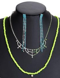 Fashion 7781 Green Alloy Diamond Flower Hollow Geometric Necklace