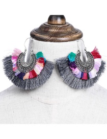Fashion 7267 Gray Alloy Diamond Feather Tassel Geometric Earrings