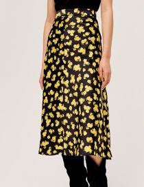 Fashion Yellow Floral Print Panelled Skirt