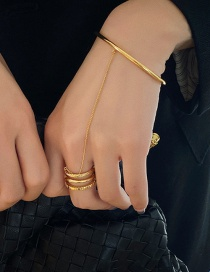 Fashion Gold Color Chain Stitching Geometric Alloy Ring Bracelet