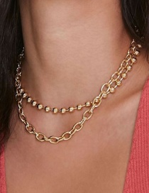 Fashion Gold Color Alloy Round Bead Chain Multilayer Necklace