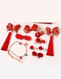 Fashion Red C Pearl Flower Butterfly Geometric Shape Childrens Hairpin Earrings Gift Set