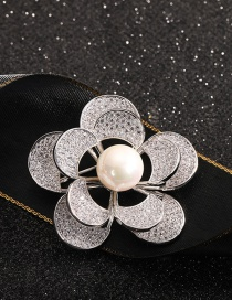 Fashion Flowers Double-layer Flower/ Diamond/ Pearl And Gold-plated Copper Brooch