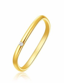 Fashion Gold Color 17mm Single Zirconium Copper Plated Real Gold Square Ring