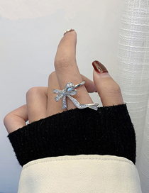Fashion Silver Color Bowknot Diamond Alloy Ring