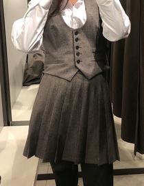 Fashion Plaid Wide Pleat Check Pleated Skirt