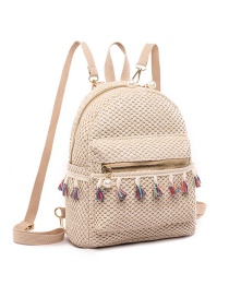 Fashion White Fringed Straw Backpack