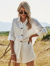 Fashion White Long-sleeved Shirt With Rolled Cuffs And Elastic Waist Shorts Set