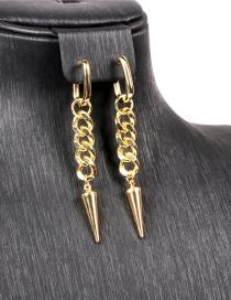 Fashion Golden Big Bar Chain Rivet Copper Gold-plated Earrings