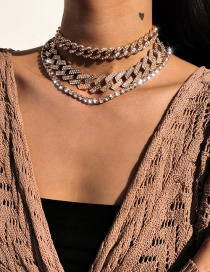 Fashion Golden Cuban Buckle Chain Diamond Alloy Multilayer Necklace