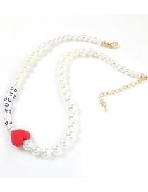 Collar Con Letras De Resina De Amor De Perlas De Imitación
