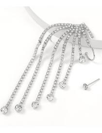 Pendientes Asimétricos De Borla Con Cadena De Garra De Diamantes De Aleación