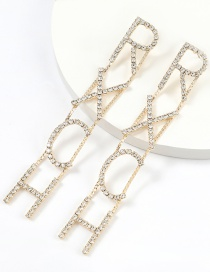 Fashion Golden Claw Chain Letter Alloy Hollow Long Sleeve Earrings