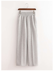 Fashion Gray Solid Color Knitted Elastic Waist Wide-leg Trousers
