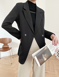 Fashion Black Solid Color One-button Loose Suit Jacket
