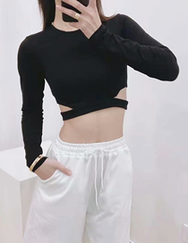 Fashion Black Solid Color Long-sleeved Slim T-shirt With Cutouts On Both Sides