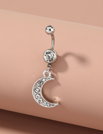 Fashion Silver Moon Diamond Pendant Stainless Steel Belly Button Nail