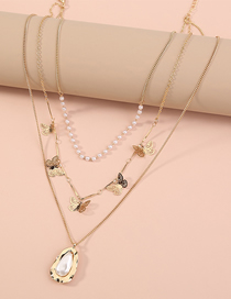 Fashion Golden Small Butterfly Pearl Geometric Alloy Multilayer Necklace