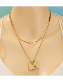 Fashion Golden Alloy Key Lock Pendant Double Layer Necklace