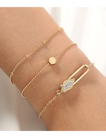 Fashion Golden Multilayer Bracelet With Diamond Pins And Paper Clips