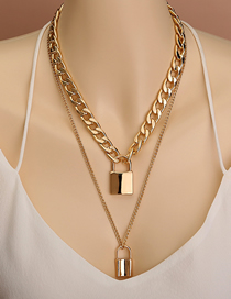 Fashion Golden Thick Chain Double Lock Pendant Necklace