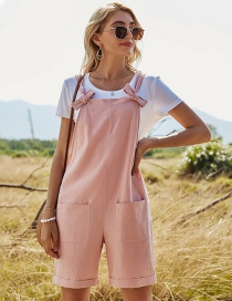 Fashion Pink Solid Color Straight Loose High Waist Pocket Jumpsuit