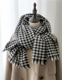 Fashion Black And White Stripes Striped Fringed Padded Scarf