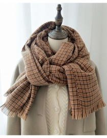 Fashion Small Lattice Caramel Check Thick Warm Double-sided Scarf Shawl
