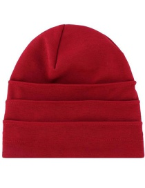 Fashion Wine Red Neimun Slub Hemp Pleated Cap