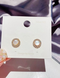 Fashion Golden Micro-inlaid Zircon Deep Sea Shell Round Copper And Gold-plated Earrings