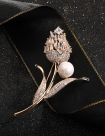 Fashion Golden Lily Pearl Diamond And Gilded Copper Brooch