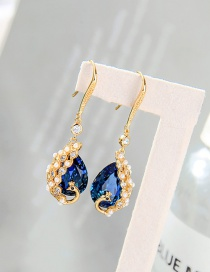Fashion Drill Blue Peacock Diamond Pearl Drop Gold Plated Earrings
