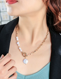 Fashion Golden Pearl Stitching Alloy Necklace