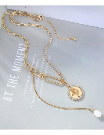 Fashion Golden Flower Round Alloy Pendant Pearl Necklace