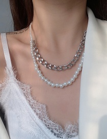 Fashion White Metal Chain Stitching Pearl Multilayer Necklace