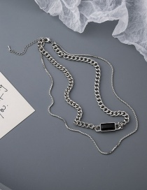 Fashion Silver Geometric Alloy Double Necklace With Gemstone Chain