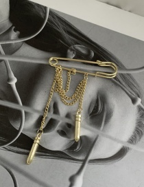 Fashion Golden Alloy Brooch With Chain Bullet