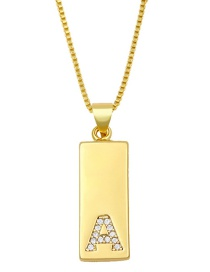 Fashion A Golden Geometric Rectangle Letter Necklace With Diamonds