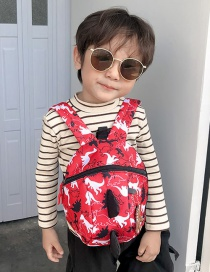 Fashion Red Little Dinosaur Print Kids Backpack