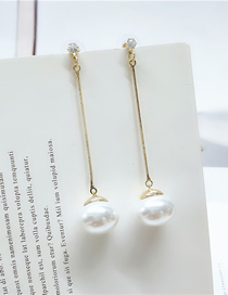 Fashion White Long Pearl Diamond Round Alloy