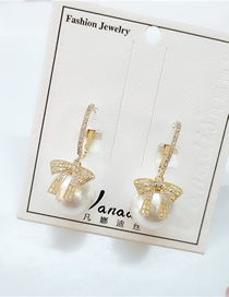 Fashion White Diamond Pearl Bow Earrings