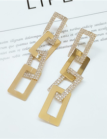 Fashion Yellow Diamond-studded Geometric Hollow Stud Earrings