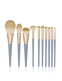 Fashion Blue Bridge Set Of 10 Nylon Hair Wooden Handle Makeup Brushes
