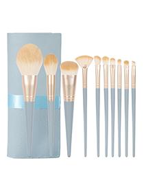 Fashion Blue Bridge 10 Wooden Handle Nylon Cloth Makeup Brush Set + Ribbon Bag