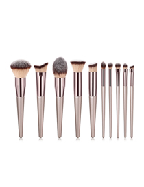 Fashion Champagne Gold Set Of 10 Nylon Hair Makeup Brushes With Wooden Handle
