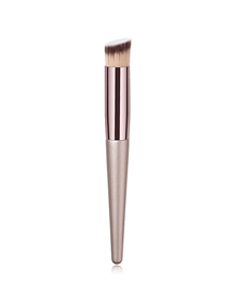 Fashion Champagne Gold Single Wooden Handle Nylon Hair Oblique Head Makeup Brush