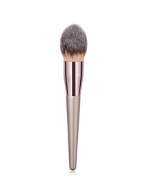 Fashion Coffee Tube Single Flame Makeup Brush With Wooden Handle And Nylon Hair