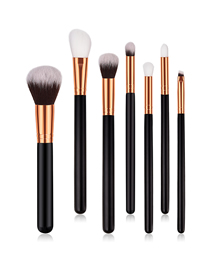 Fashion Black Gold Pvc7 Wooden Handle Nylon Hair Makeup Brush Set