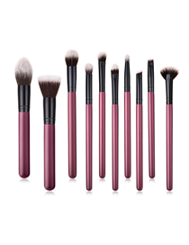 Fashion Maroon Set Of 10 Nylon Hair Makeup Brushes With Wooden Handle