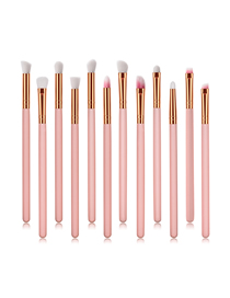 Fashion Pink Pvc12pcs Wooden Handle Aluminum Tube Nylon Hair Eye Makeup Brush Set